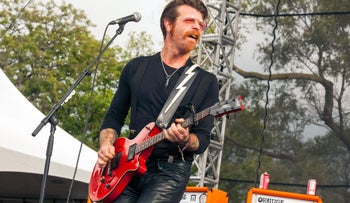 In this Sept. 11, 2015 file photo, Jesse Hughes of Eagles of Death Metal performs at Riot Fest & Carnival in Douglas Park in Chicago.