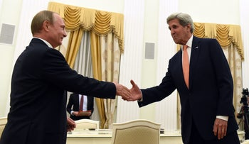 U.S. Secretary of State John Kerry shakes hands with Russian President Vladimir Putin before their meeting in Moscow, July 14, 2016.