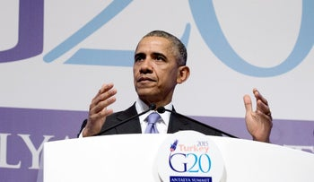 U.S. President Barack Obama addresses the press after the G-20 summit in Antalya, Turkey. November 16, 2015.
