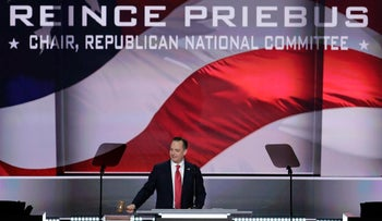 Reince Priebus, Chairman of the Republican National Committee gavels the convention to order on the opening day of the Republican National Convention in Cleveland, July 18, 2016.