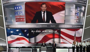 Rabbi Ari Wolf speaks at the opening of the Republican National Convention in Cleveland, Ohio, U.S., July 18, 2016.