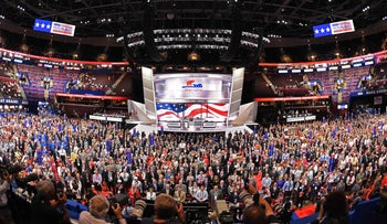 Delegates on the opening day of the Republican National Convention at the Quicken Loans arena in Cleveland, Ohio on July 18, 2016.