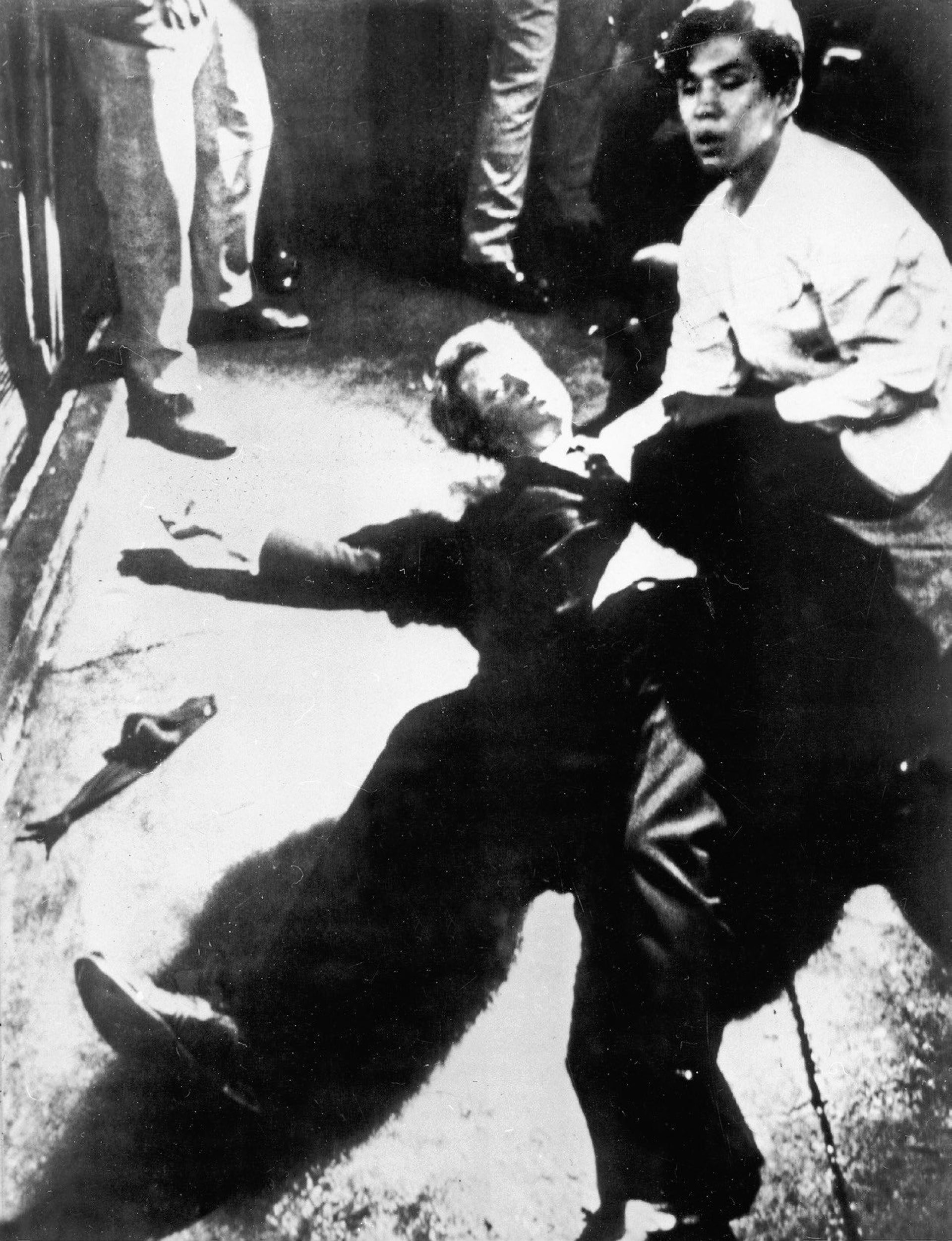 Just after Bobby is shot at the Ambassador Hotel in Los Angeles, busboy Juan Romero places rosary beads in his hand and tries to cushion his head as Ethel pleads with the pressing crowd to 'give him room to breathe.'