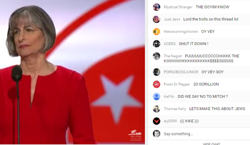 Screenshot of anti-Semitic epithets posted as Hawaii Governor Linda Lingle addresses the RNC on  July 18, 2016.