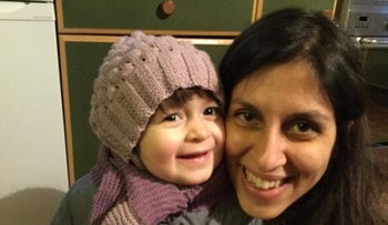 Nazanin Zaghari-Ratcliffe, held since April, with her daughter Gabriella in London, February 7, 2016.