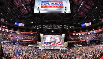 A photo of the televised Republican National Convention in Cleveland, Ohio July 18, 2016.