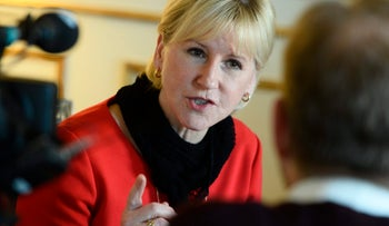 File photo of Margot Wallström, Sweden's foreign minister, from 2014. Wallström caused a furor in Israeli circles this week by purportedly linking between the Israel-Palestinian conflict and ISIS.