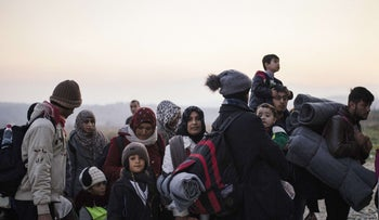 Migrants and refugees at a registration camp in Greek-Macedonian border. More than 800,000 have landed in Europe so far this year. November 17, 2015.