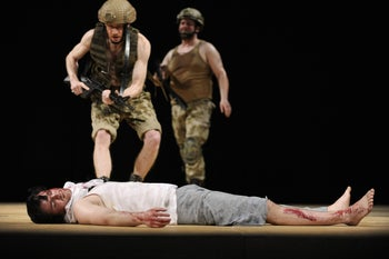 """From """"Murder,"""" by Hanoch Levin, a satirical play staged by a German theater in Tel Aviv, November 2015."""