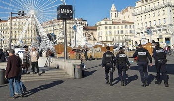 French police patrol in Marseille on November 17, 2015.