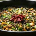 Wild rice with vegetables, butternut squash and goji.