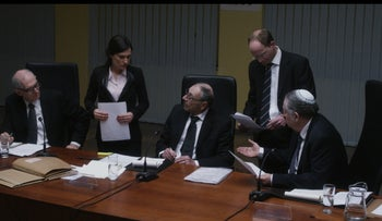 A meeting of the Shamgar Commission in Amos Gitai's film 'Rabin, the Last Day.'