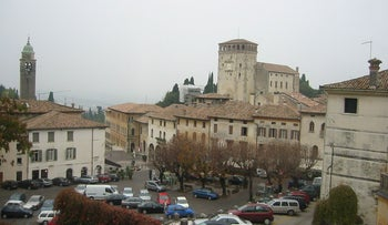 A view of the hillside town of Asolo on a rather foggy day. The town was mentioned as Acelum in the works of Pliny, nearly 2000 years ago. In the year 1547. dozens of people rose up against the town's 37 Jews, murdering a number of them and robbing the rest.