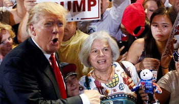 Republican Presidential candidate Donald Trump works a crowd in Arizona on June 18, 2016.