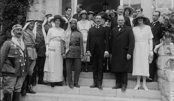 Mr. and Mrs. Winston Churchill at Government House reception on March 28th 1921, Jerusalem with Emir Abdullah of Transjordan and Sir Herbert Samuel on steps at left of Churchill. Churchill, Lawrence & the Emir Abdullah.