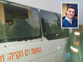 The minivan in which Ezra Schwartz was riding with classmates, with an inset photo of Schwartz from his graduation earlier in this year, November 19, 2015.