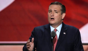 Former Republican U.S. presidential candidate Senator Ted Cruz speaks during the third night of the Republican National Convention in Cleveland, Ohio, U.S. July 20, 2016.