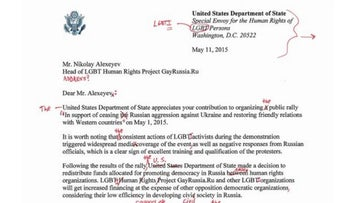 A copy of a letter published by Russian daily 'proving' U.S. conspiring to brand some Russian officials as gays, marked by U.S. embassy with a red pen to disprovie claim, correct mistakes