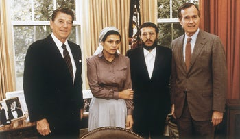 Avital Sharansky and Yosef Mendelevitch with Ronald Reagan and George H.W. Bush in the White House, May 28, 1981.