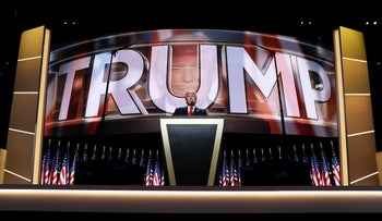 Republican presidential candidate Donald Trump delivers a speech during the evening session on the fourth day of the Republican National Convention on July 21, 2016.