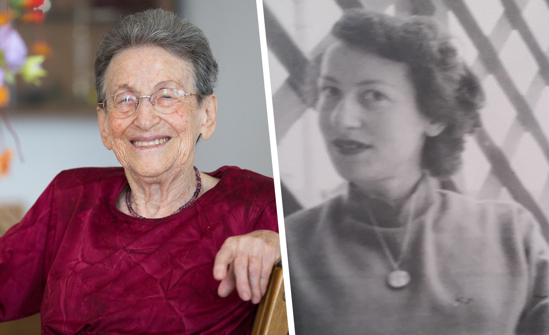 Shoshana Levy Kampos, a victim of the 1946 bombing of Jerusalem's King David Hotel, now and 70 years ago.