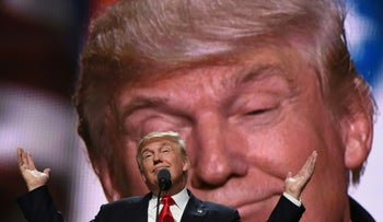 Republican presidential candidate Donald Trump addresses delegates at the end of the last day of the Republican National Convention on July 21, 2016, in Cleveland, Ohio.