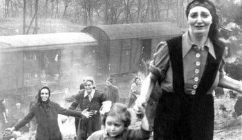 Jewish prisoners being released from the train that was bound for Theresienstadt, April 13, 1945.