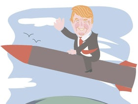 Illustration: Trump waves as he rides a rocket.