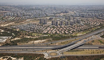 Highrises surrounded by single-family construction in the central town of Rishon Lezion.