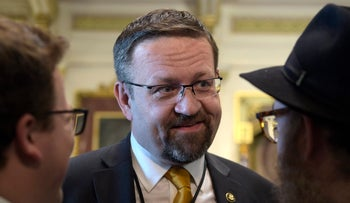 Gorka compares North Korea nuclear threats to Holocaust. Pictured: At the White House in Washington, May 2, 2017.