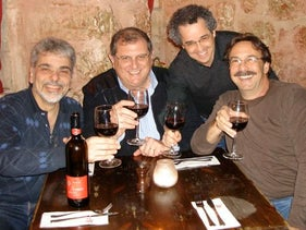 (Left to right) Jacob Rubinstein, Shmuel Benalal, Leo Corry and Alberto Eder – all classmates from the Jewish school in Caracas, Venezuela – in Jerusalem in 2010.