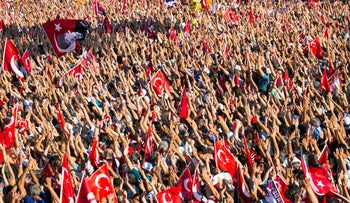 Thousands rally in Istanbul on July 24, 2016 to condemn a thwarted military coup against President Recep Tayyip Erdogan.
