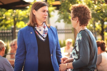 Elissa Slotkin campaigning recently in Michigan's 8th Congressional district.