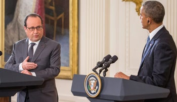 French President Francois Hollande speaks during a joint news conference with President Barack Obama, Tuesday, Nov. 24, 2015, in the East Room of the White House in Washington. Hollande's visit to Washington is part of a diplomatic offensive to get the international community to bolster the campaign against the Islamic State militants.