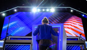 Finishing touches applied at the venue of the Democratic National Convention in Philadelphia, on July 24, 2016.