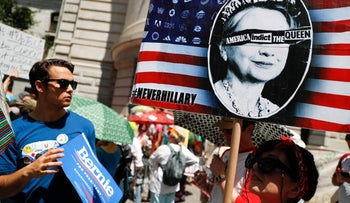 Supporters of Sen. Bernie Sanders, I-Vt., arrive for a demonstration at Dillworth Park on Sunday, July 24, 2016, in Philadelphia. The Democratic National Convention starts Monday in Philadelphia.