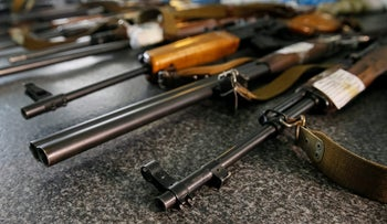 Confiscated weapons are seen at a police station in Slaviansk in Donetsk region, Ukraine, June 30, 2016. Picture taken June 30, 2016.