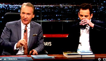 Bill Maher with his guest author Sam Harris on HBO's show 'Real Time,' October 6, 2014.