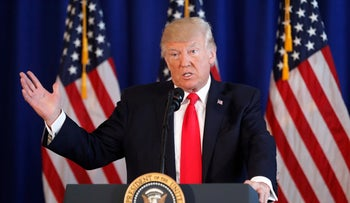 President Donald Trump speaks about the situation in Charlottesville, Va., in Bedminster, N.J., August 12, 2017.