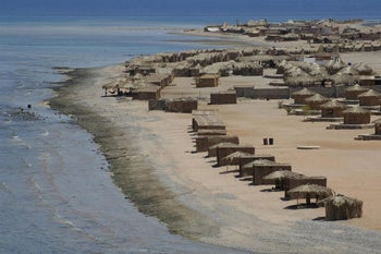 Tourist dwellings on Nuweiba on the east coast of the Sinai Peninsula.