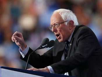 Former Democratic Presidential candidate, Sen. Bernie Sanders, I-Vt., speaks during the first day of the Democratic National Convention in Philadelphia , Monday, July 25, 2016.