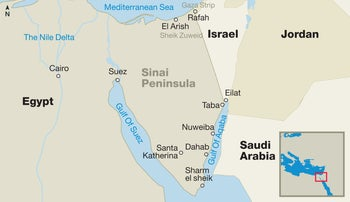 A map showing key locations in the Sinai Peninsula and the surrounding region.