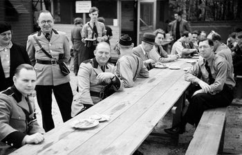 In this May 22, 1938 photo, provided by the New York City Municipal Archives, members of the German American Bund pose for a photo at Camp Siegfried, in Yaphank, N.Y.