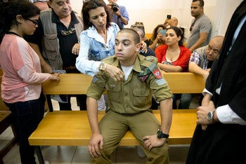 Sgt. Elor Azaria in military court in April 2016.