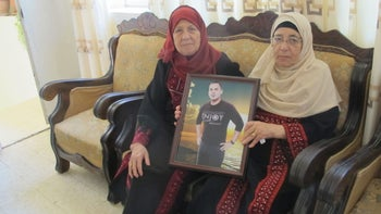 From left, Halima and Hadiba Kayed, the first wife of the father of administrative detainee Bilal Kayed, and Bilal's mother, July 2016.