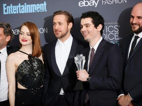 """(L-R) Producer Gary Gilbert, actors Emma Stone and Ryan Gosling, director Damien Chazelle and producer Jordan Horowitz pose backstage with their award for Best Picture for """"La La Land"""" during the 22nd Annual Critics' Choice Awards in Santa Monica, California, U.S., December 11, 2016."""