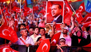 Supporters of President Recep Tayyip Erdogan in Istanbul's Taksim Square, Aug. 10, 2016.