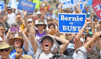 Bernie Sanders supporters gather at City Hall on the second day of the Democratic National Convention (DNC) on July 26, 2016 in Philadelphia, Pennsylvania.