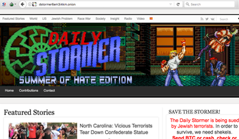 A screenshot of the Daily Stormer website, which is now using a url only available on the dark web.