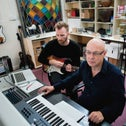 Brian Eno, right, and his protege Ben Frost, May 31, 2011.